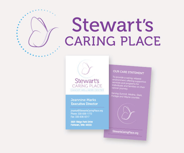 Stewart's caring place brand identity, logo and business card