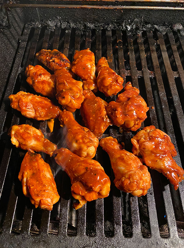 Wings on the grille